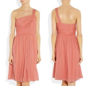 J. Crew Lucienne One-Shoulder Silk Dress-Coral